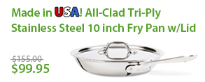 made in usa! All-Clad Tri-Ply Stainless Steel 10 inch Fry Pan w/Lid
